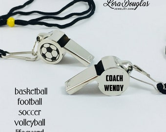 Personalized Coaches Whistle, Coach Gift, Soccer, Football, P.E., Teacher Gift, End of Year Gift, Male Teacher Gift, Sports, Whistle