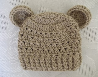 Sale! Baby bear hat, newborn bear hat, baby boy hat, crochet newborn hat, Teddy bear hat, newborn boy hat, baby boy beanie, animal baby hat