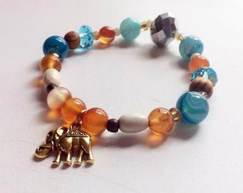 Elephant Charm Bracelet With Orange Carnelian and Blue Agate, Stretch Cord Bracelet