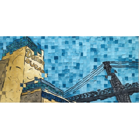 "Brooklyn -New York City - Domino Sugar Factory - Architectural Art: 10""x20"" Original Painting"