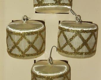 Vintage White Satin Drum Ornaments-Styrofoam-Beaded