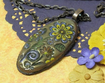 Oval Flower Pendant Necklace Polymer Clay Jewelry, Copper Gold, Yellow Lavender Purple Flowers, Boho Hippie Whimsical Fun Jewelry