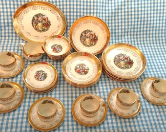 Crest-O-Gold Dinnerware / Sabin / 39 Pieces / Plates, Bowls, Saucers, Cups, Platter / 22k Gold / 1950's / Colonial Couple / Fine China /