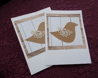 Bird and Lace Greeting Cards (4), Blank, Friendship, Birthday, Thank You, Thinking of You