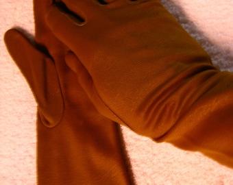 Satiny Stretch  Olive Green  Gloves size 6.5