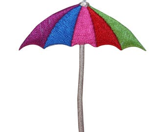 ID 1792 Colorful Beach Umbrella Patch Vacation Craft Embroidered IronOn Applique