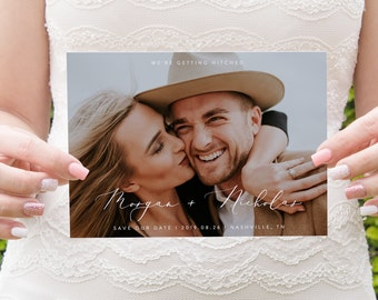 Photo Save The Date Template Boho Save the Date Photo Template Instant Download Templett Printable Engagement Save The Date Editable Wedding