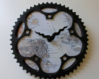 SF Bay Area Bicycle Clock  |   Map Clock  | San Franciso Vintage Map Clock | Bike Gear Clock