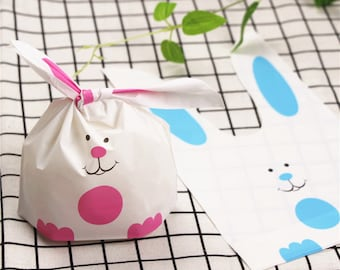 50pcs rabbit ear party wedding favor bag,candy chocolate snakc cookie bags,cellophabe bag,plastic gift package