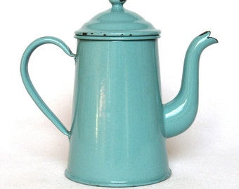 Vintage French Enameled Coffee pot in a very attractive aqua green coloring