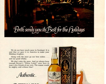1960s Dewar's White label Vintage collectible magazine ad scotch Whiskey wall decor. (1702)
