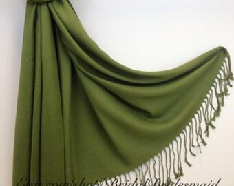 OLIVE GREEN PASHMINA - olive green shawl - bridal scarf - bridal shawl - bridesmaid gift - wedding gift - scarf - shawl - gift -