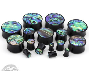 "Horn Plugs With Abalone Shell Inlay - Double Flare (6G - 1 & 3/16"" Inch)  New!"