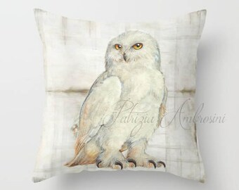 """Throw Pillow Cover with pillow insert Indoor."""""""" SNOWOWL """"""""  - animal  - woodland art - fine - living  - childrens  - nursery - babies -owl"""