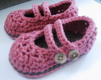 Crochet Cotton Baby 2 Strap Mary Janes- Berry and Taupe