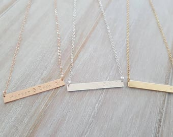 Sterling silver, rose gold filled, gold filled bar name initial necklace | handstamped | bridesmaid | Gift for mum | engraved bar | 30th