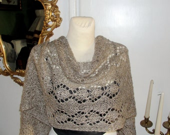 """knitiing SCARF, shawl, """"  AUTUMN DREAM """" neckwarmer, perfect for this time of long,  handmade , attractive.beige gold silver"""