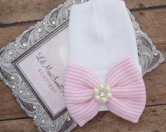 NEW fitted top newborn hospital hat, pink stripe bow with pearls, latex free, take home outfit, baby beenie, by Lil Miss Sweet Pea