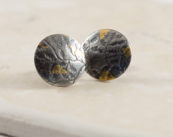 Keum Boo Earrings: A pair of earrings of textured sterling silver with 24ct gold foil applied