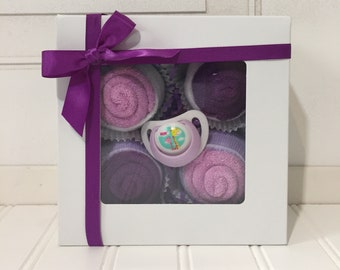 Washcloth Cupcakes, Baby Girl Gift Set, Newborn Gift, Pregnancy Announcement, Hospital Gift