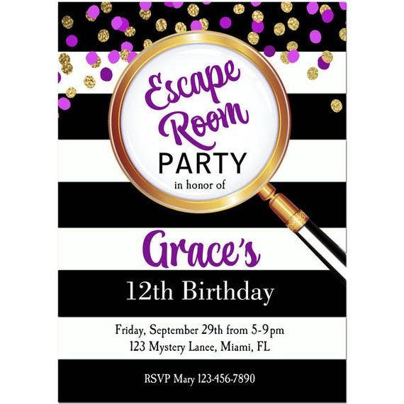 Girl's Escape Room Party Invitation Printable Or Printed