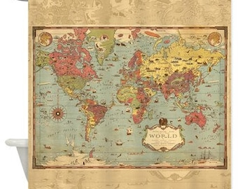 Retro Decorative World Mercator Map Shower Curtain - Historical , antique image, Pirate map, Home Decor - Bathroom - blue, green aged - kids
