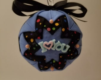 Blue and Black folded fabric handmade ornaments with I Love You decoration