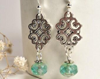 Turquoise Glass Earrings ∫ Teal Dangle Earrings ∫ Silver Boho Drop Earrings ∫ Silver Czech Aqua Earrings ∫ Sea Blue Summer Earrings