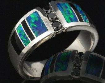Men's Lab Created Opal Wedding Ring with Black Diamonds and Black Onyx Accents