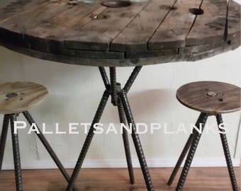 Adjustable bar height counter height pub spool bistro table smooth brushed iron rebar legs cable reel