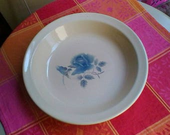 Lovely large blue rose decorated bowl - French vintage Digoin Sarreguemines dish