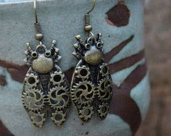Beetle Earrings Insect Earrings Bug Earrings Steampunk Bug Earrings Metal Earrings Fashion Jewelry Costume Jewelry