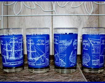 Libbey USA Privateer Ship Rattlesnake, Highball Tumblers, Set of Four, Nautical Blueprints, Signed J. Scott, Nautical Barware, Vintage 1970s