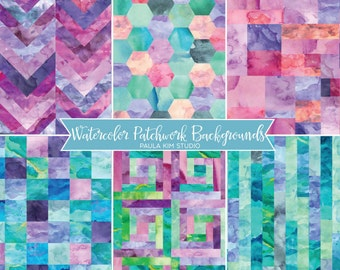 Patchwork Watercolor Digital Paper Image Instant Download, Background Textures, Watercolor Papers