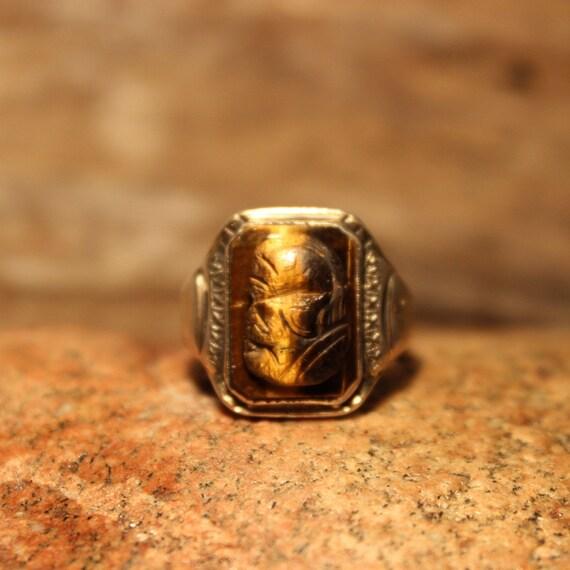 Vintage Intaglio Sterling 10K Gold Roman Soldier Tigers Eye Ring 9 Grams Size 8.75 Vintage Sterling Ring Silver Vintage Ring Mens Rings