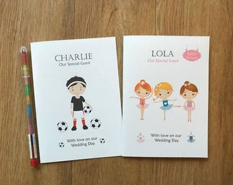 A6 Personalised Childrens/kids Wedding Activity Book Pack Favour - BALLERINAS or FOOTBALLERS