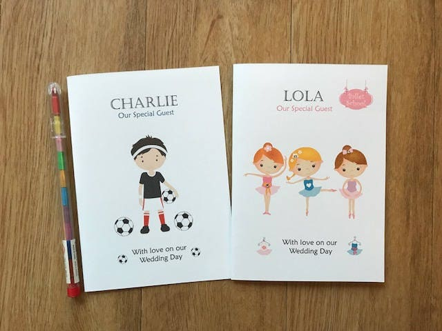 A6 Personalised Childrens Kids Wedding Activity Book Pack Favour
