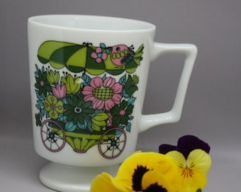 Vintage 1960's Mug with Flowers in a Cart