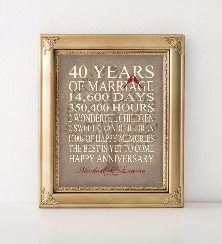 Wedding Anniversary List Of Gifts: Wedding Anniversary Gift 40th Anniversary Gift Personalized