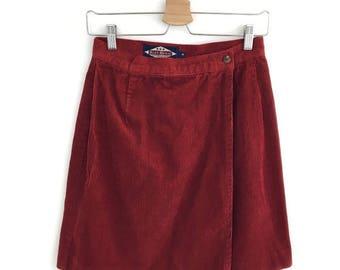 Vintage Red Corduroy Wrap Around Mini Skirt Size Small