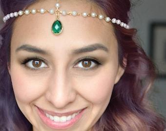 Shimmer and Shine Headpiece | Pearl Headchain with Emerald Green Teardrop