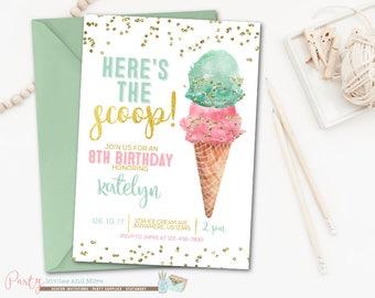 Ice Cream Birthday Invitations Girl Birthday Ice cream