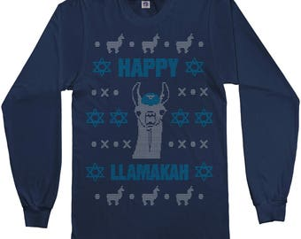 Happy Llamakah Llama Hanukkah Ugly Sweater Men's Long Sleeve T-Shirt - Short Sleeve T-Shirt - Tank Top