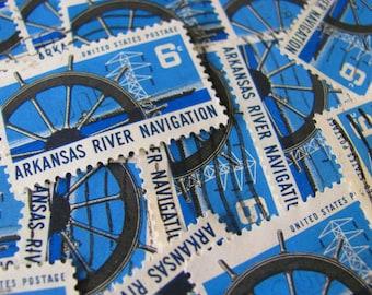 Nautical By Nature 30 Vintage US Postage Stamps 6-Cent Arkansas River Navigation AR Ship's Wheel Blue Water Scrapbooking Ephemera Philately