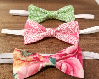 Baby Bow Headband Set - Baby Girl - Floral - Bright - Baby Shower Gift - New Baby Gift