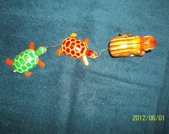 tin wind-up tortoise  and hare marked K