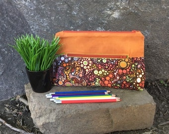 Pencil case, Pocket for pencils, Cosmetic Bag, Orange storage pouch