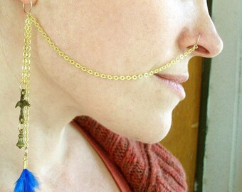 14K Gold Plated-Brass-Feather-Bird-Nose Chain / Free US Shipping