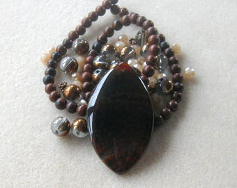 Brown Agate Pendant, Obsidian Beads, Glass Beads, DIY Jewelry Kit, Jewelry Making Beads, Bead Kit, Gemstone Beads, Copper, Necklace Kit