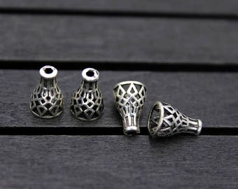 4pcs- Sterling Silver bead caps,Hollow bead cap,Tassel Cap, silver cone bead caps, for TOP DRILLED Beads